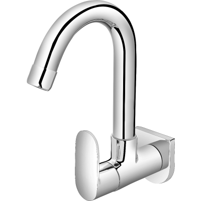 Plantex Pure Brass Orna Sink Cock with (360 Degree) Swivel Spout and Single Handle Kitchen Faucet with Wall Flange - Wall Mount (ORN-210)