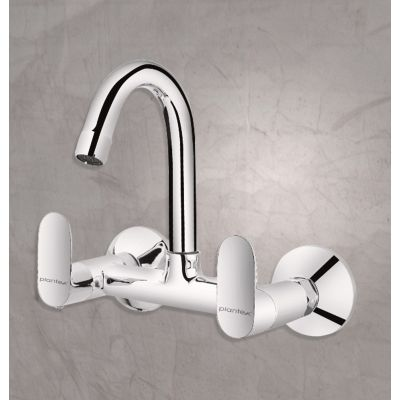 Plantex Pure Brass Orna Sink Mixer with (360 Degree) Swivel Spout Double Handle Water Tap/Kitchen Bathroom Faucet - Wall Mount (ORN-214)